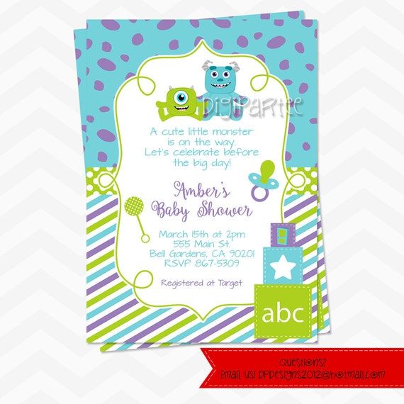 monsters inc baby shower invitations by dpdesigns2012 on etsy