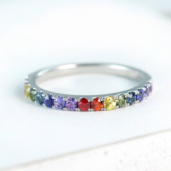 lgbt pride ring engagement wedding band sterling silver by