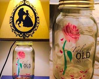 Beauty and The Beast Inspired Mason Jar Character Lamp
