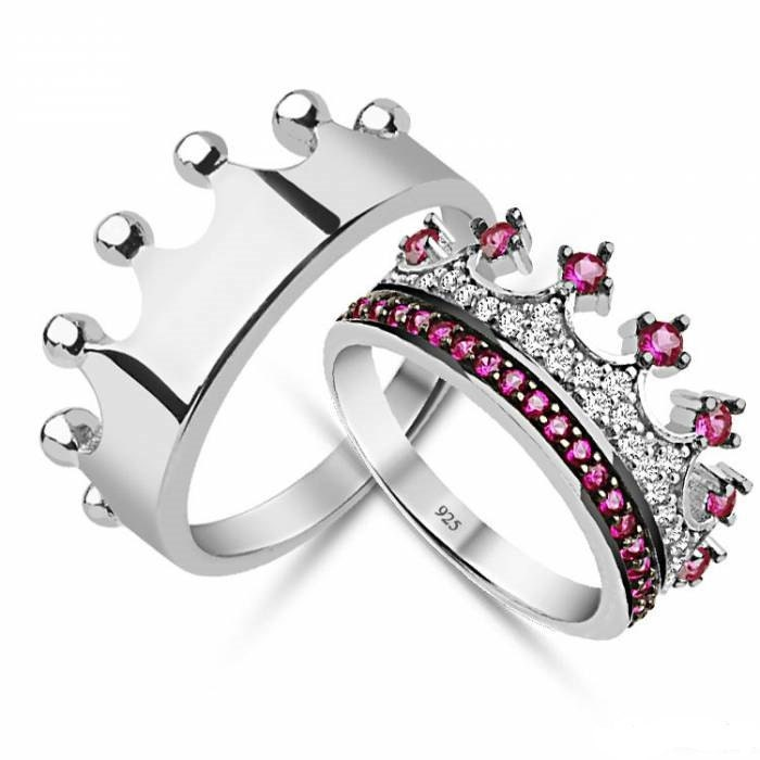 cz crown ringking and queen ringscrown engagement