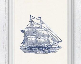Old Ship in blue - Vintage print - sea life print- vintage illustration SPN019