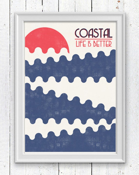 Wall decor poster Coastal Life is Better - Vintage Abstract Sunset Print  Pop style wall art sea life desingn SPN01