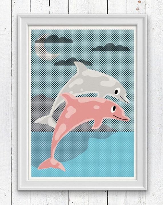 Dolphins - Nursery Art Print - Sea animal illustration wall decor - Nursery room modern  decoration SPNR06