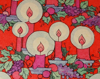 Vintage Christmas Gift Wrap - Candles