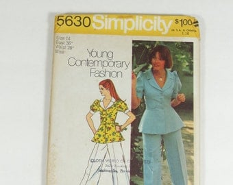 Simplicity 5630 - Vintage 1973 Pattern - Young Contemporary Fashion Misses Unlined Jacket and Pants - Size 14
