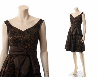Vintage 50s 60s Mod Floral Pin-Up Dress 1950s 1960s Jay Original Mel Warshaw Miami Brown Damask Sleeveless Party Dress