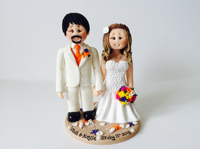 Personalised bride and groom Beach Wedding Cake Topper