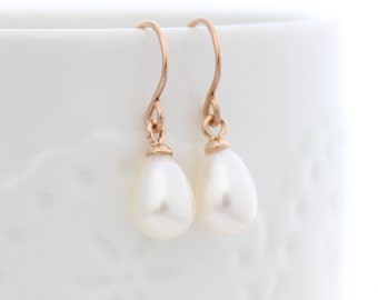 Pearl Drop Earring | Rose gold earrings with genuine pearl drops | Gifts for her