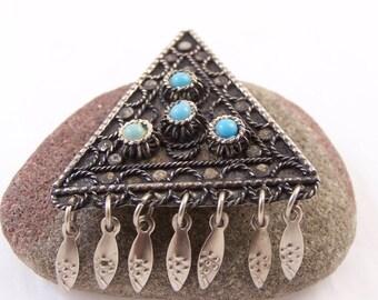 Vintage Silver Israel Brooch, Silver Pendant Brooch, Glass Metal Brooch, Turquoise Brooch Pendant, Triangle Brooch