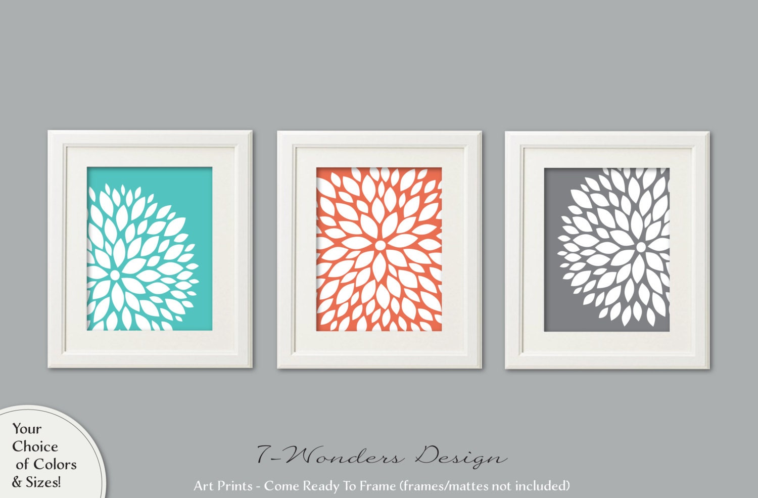 Turquoise Coral Grey Flower Bursts Art Prints Dahlia Wall Art Set Of 3