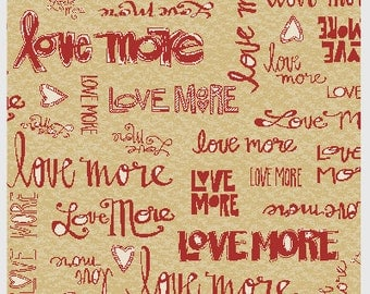 Love More Writing in Red from P&B Textiles 313R 1 yard