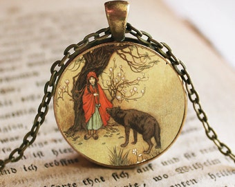 Little Red Riding Hood with Wolf Image Pendant, Little Red Riding Hood, Necklace, Fairy Tales, Once Upon a Time