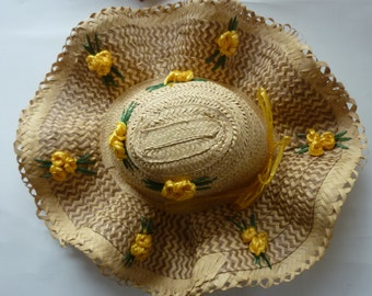 Vintage Floppy Hat Straw Sun Beach Hat Yellow Rose Design 1970's