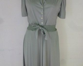 70's Boho Dress Shirt Waist Slinky Silky Mint Green Poly Made by Jody T of California Size M
