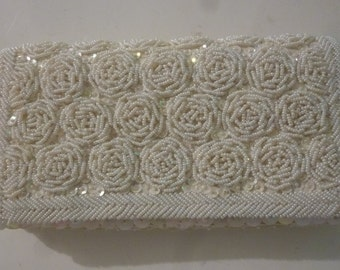 Vintage Bride's Formal Handbag White Satin Clutch Sequin and Bead Rosette Design Hand Made in Hong Kong 1960s