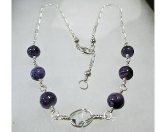 "16.5"" or 17.75"" CHAROITE & HERKIMER DIAMOND Choker/Necklace - Sterling Silver Wirewrap ww561"