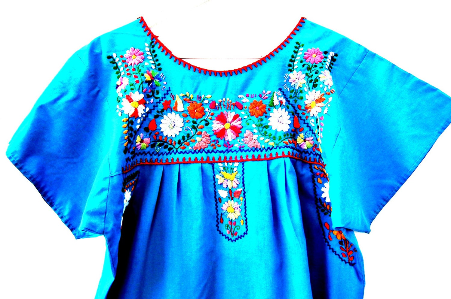 Mexican embroidered dress Blue mexican dressTraditional
