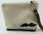 Handmade Clutch with Mustache Made With Repurposed Fabrics and Leather