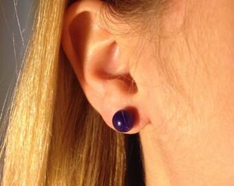 Purple Stone Stud Earrings