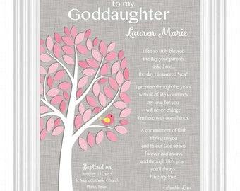 GODDAUGHTER Custom Gift - COMMUNION or BAPTISM Gift - Gift for Goddaughter - Christening/Dedication - Gift from Godparents- other colors