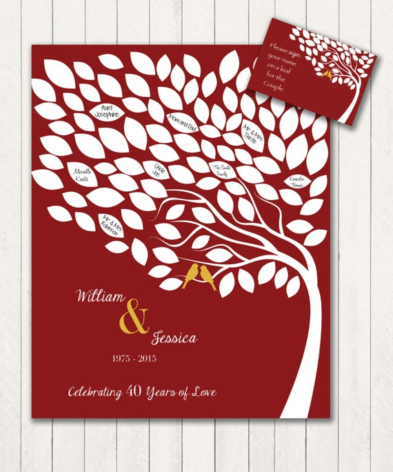 Alternative 40th Wedding Anniversary Gifts : 40th Anniversary Guest 16x20 Sign-In Tree Poster - Wedding Guest Book ...