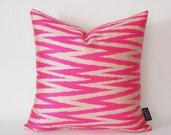 Hot Pink Zig Zag Decorative Silk İkat Pillow Cover, Throw Pillow, 15x15 inch İkat Pillow, Handmade İkat Pillow