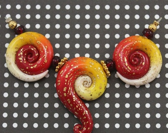 Polymer Clay beads in red, orange, yellow and white, color gradient combination set of  Ombre beads,3 unique beads
