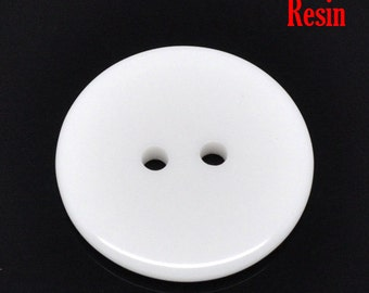 50 Round Plastic Buttons Two Hole 23mm White - pack of 50 PB85