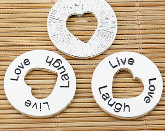 12pcs tibetan silver round Love Laugh Live lettering charms EF1449