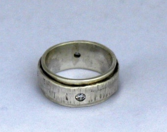 Organic Mans Wedding   Band Recycled Silver Gem Stone Jewelry Metalwork Ring