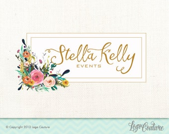 Premade Logo Design - Setlla Kelly Events - Watercolor Flower Logo - Calligraphy Logo - Shabby Chic Logo - Pre-made Logo - Events