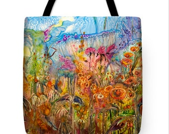 Flowers in a Wash tote bag