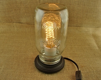 Mason Jar and Edison Industrial Bulb Lamp - Vintage Style LIghting