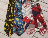 Boys Neck Tie- Superhero Tie- Marvel Comic Neck Tie- Toddler Superman Tie- Spiderman Tie- Batman Tie- Big Hero 6 Tie- Disney Neck Tie