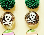 Stud earring set-Skull earrings- earrings set- tiny stud earrings- resin flower studs-small earrings- minimalist earrings