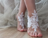 White  lace barefoot sandals Free Ship  Beach wedding barefoot sandals, lace sandals, Sandals