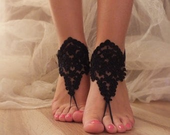 Black Barefoot Sandals, french lace, Nude shoes, Gothic, Foot jewelry,Wedding, Victorian Lace, Sexy, Yoga, Anklet , Belly Dance