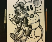 Sharpie Sketch Drawing - Doll Jin with Happy Rat