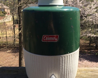 Vintage 2 Gallon Green and White Coleman Cooler