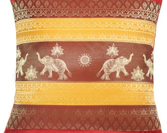 "Avarada 16X16"" Print Elephant Sun Throw Pillow Cover Decorative Sofa Couch Cushion Cover Zippered Red Yellow"