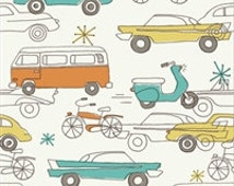 "Cars in Cream from Birch Organics from the Circa 52 Collection ""Monaluna"" Fabric Priced by the Yard"
