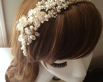DARKWHISPER Couture Wedding Season Handmade Crystal & White Spring Flowers Bride Hair accessory