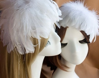 DARKWHISPER Couture Wedding Season Handmade Bride White Spring Feather & Diamonds Headbands / Hair accessory