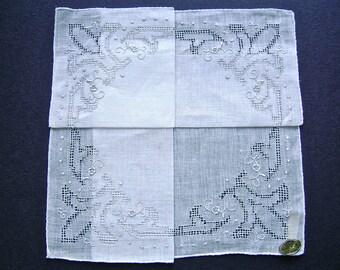 Vintage Handkerchief, Unused, Bridal Hankie, Linen, Fleur de Lis Drawnwork, Faggoting, Embroidery, Hong Kong, Celebritees Handkerchief