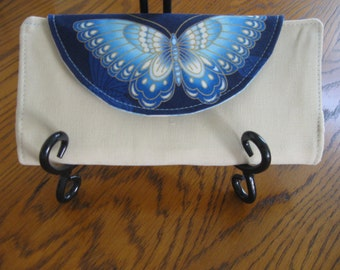 Cream blue gold butterfly wallet