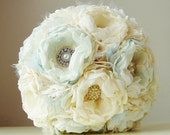 Fabric Flower Bouquet,  Vintage Wedding Bouquet,  Brooch Bouquet,  Handmade Bridal Bouquet, Vintage  Wedding Bouquet