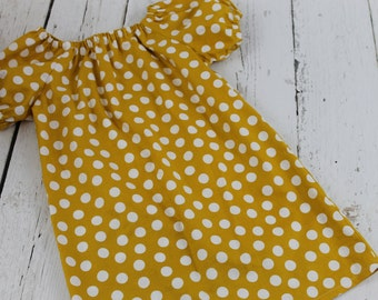 Mustard Polka Dot Peasant Dress Baby Girl Peasant Dress Toddler Dress  Girls Twirl Dress, 1st Birthday Dress Party Dress, Girls Fall Dress