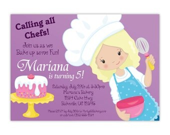 Baking Invitation - Fun Purple, Cute Little Girls Baking Party, Cake Cooking Personalized Birthday Party Invite - Digital Printable File