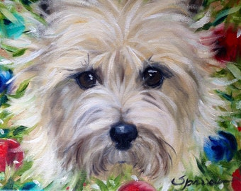 NEEDLEPOINT CANVAS PRINT Cairn Terrier Christmas Holiday Dog Art by Mary Sparrow white puppy face canine portrait painting wreath ornaments