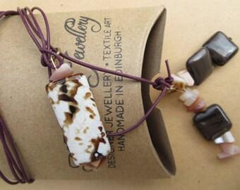 Gemstone Lariat, Gemstone Y Necklace, Agate Gemstone Necklace, Agate Lariat/YNecklace, Handmade Y Necklace, Designer Lariat, Scotland, U.K.